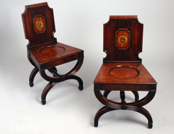 Important Pair George III Armorial Mahogany Hall Chairs