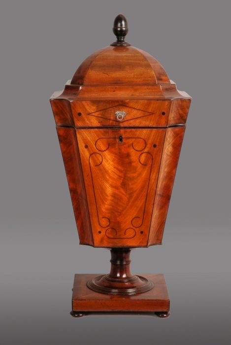 George III Mahogany and Ebony Inlaid Cutlery Urn