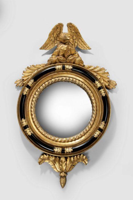 Superb Regency Gilt and Ebonized Convex Mirror