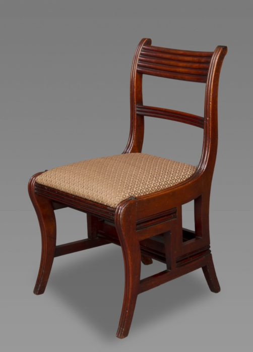 A Regency Metamorphic Walnut Side Chair / Library Steps