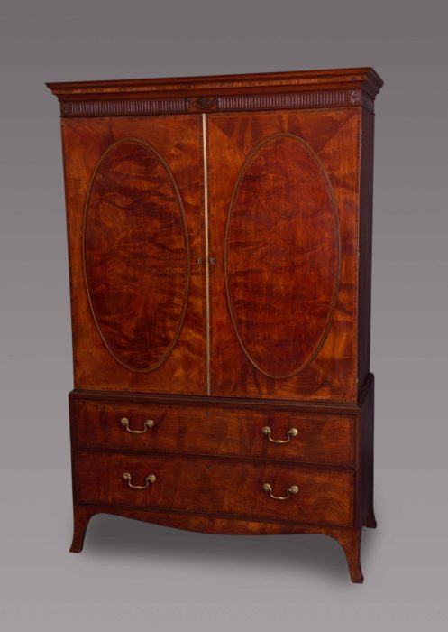 Fine and Rare George III Fustic Linen Press Possibly by Mayhew and Ince