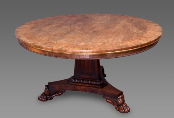 Exceptional Regency Period Rosewood and Marquetry Center Table