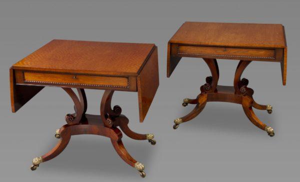 A Fine Pair of Regency Padouk and Goncalo Alves Sofa Tables