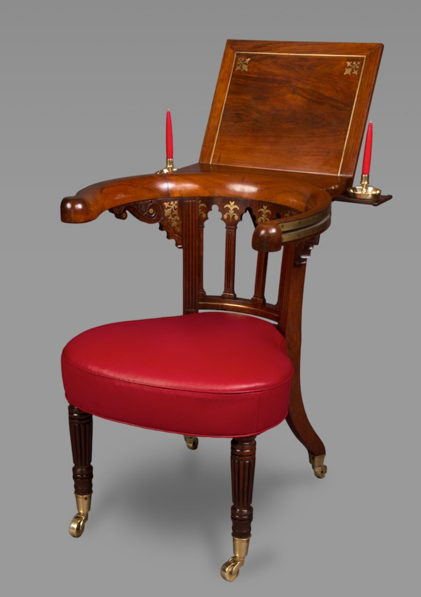 . very fine rosewood and brass inlaid regency library reading chair