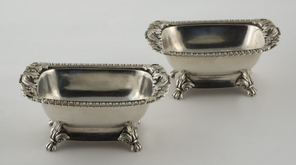 A Fine and Rare Pair of Chinese Export Silver Open Salts