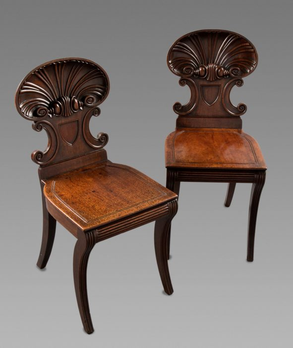 Fine Pair of Gillows Shell Back Hall Chairs by Anderton