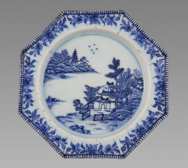 Interesting Octagonal Blue & White Plate After an English Silver Shape