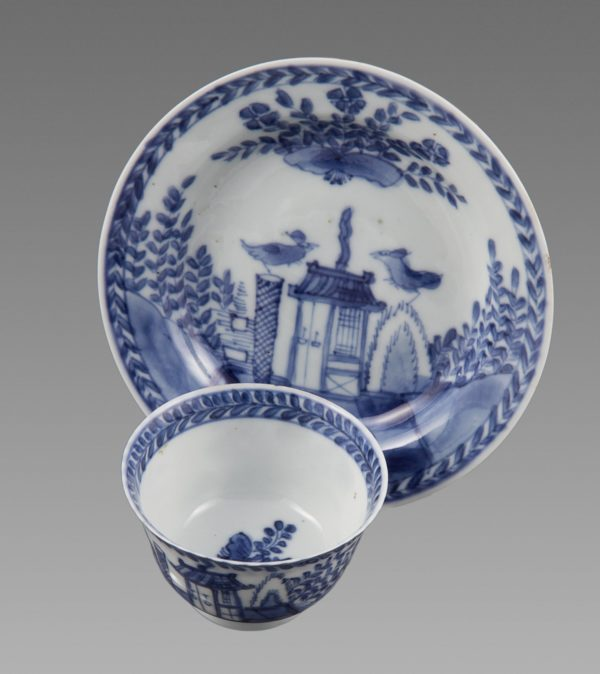 """Chinese Export """"Cookoo In The House"""" Tea Bowl & Saucer"""