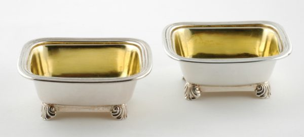 A Good Pair of Chinese Export Silver Open Salts in the Regency Taste