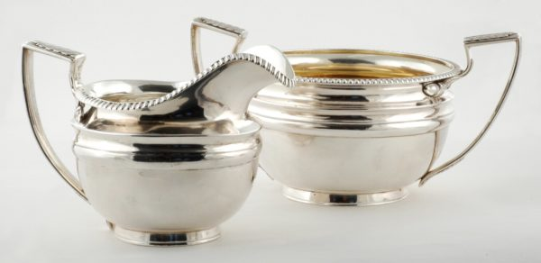 Chinese Export Silver Open Sugar Bowl and Creamer