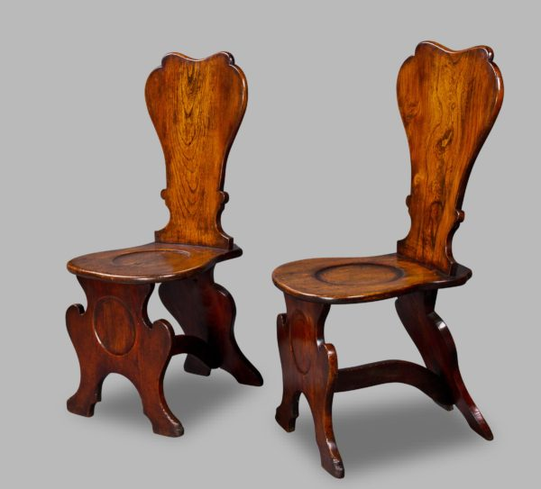 Good Pair of George III Elm Hall Chairs