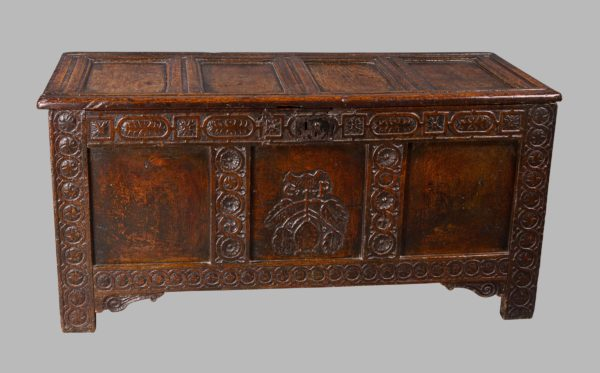 A Good Charles I Oak Marriage Chest