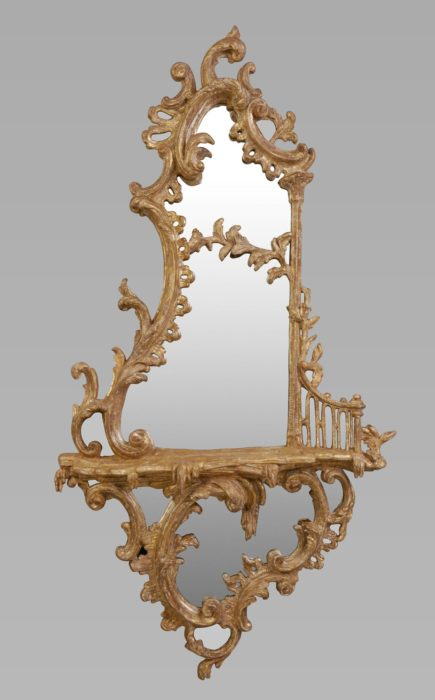 A Good George III Chippendale Period Gilt Carton Pierre Gilt Girandole of Large Proportions