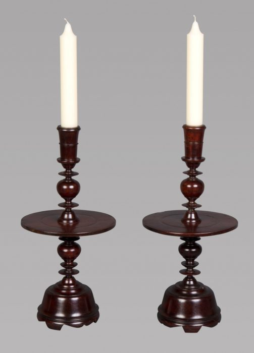 An Impressive Pair of 17th Century Portuguese Colonial Jacaranda Candlesticks