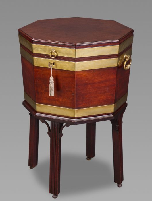 A Fine 18th Century Mahogany and Brass Bound Octagonal Cellaret on Stand