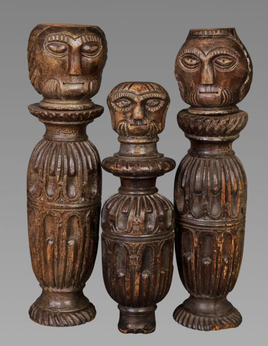 FOLK ART: A Good Set of Three 17th Century Painted and Carved Fragments