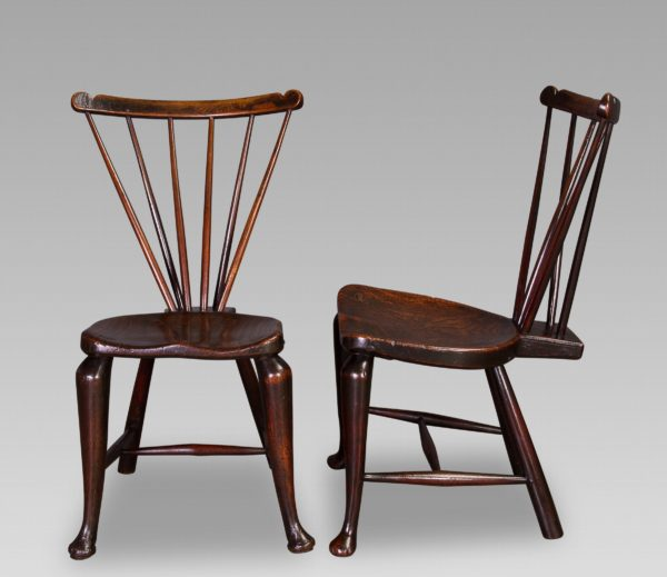 A Rare Pair of Early George III Elm and Ash Windsor Side Chairs