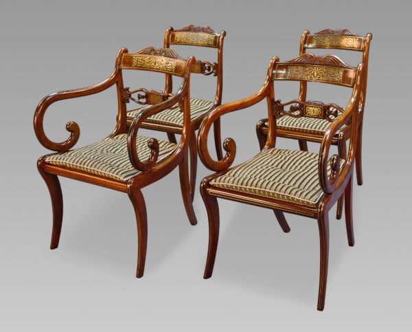A Very Rare Long Set of Sixteen George III Brass Inlaid Rosewood Dining Chairs