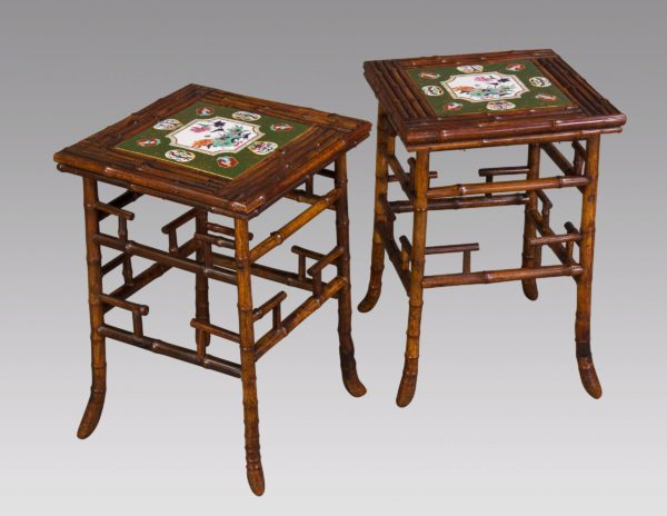 A Pair of Bamboo Side Tables with Porcelain Tops