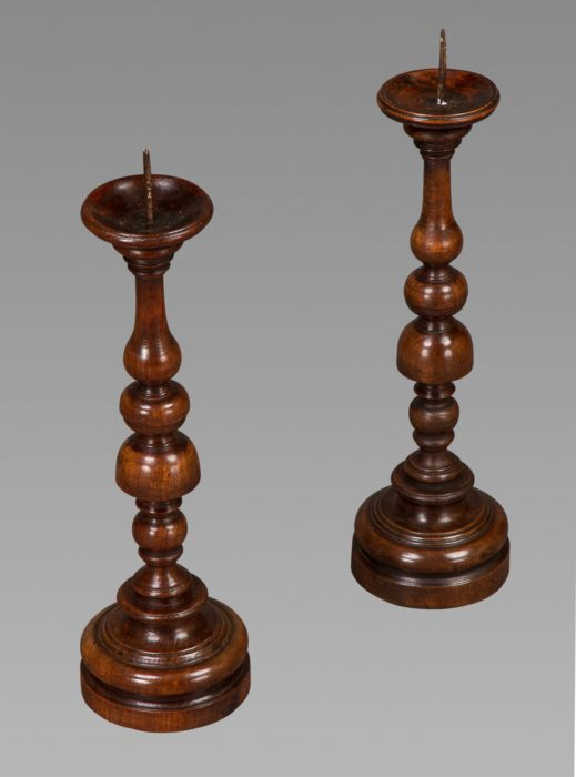 A Fine and Large Pair of Early 18th Century Walnut Pricket Candlesticks