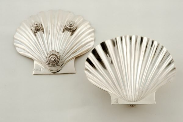 Pair of Chinese Export Silver Scallop Shape Side Dishes