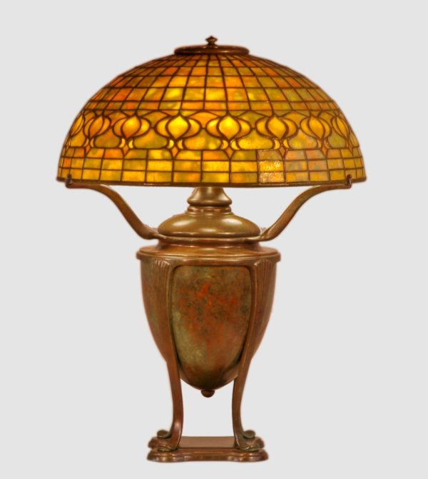 "Tiffany ""Pomegranate"" Dichroic Leaded Glass and Bronze Table Lamp"