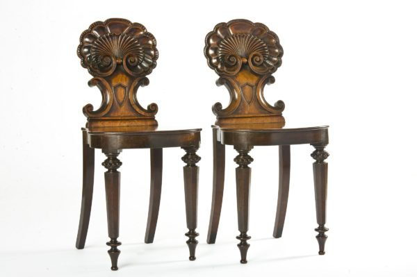 Fine Pair Regency Mahogany Hall Chairs