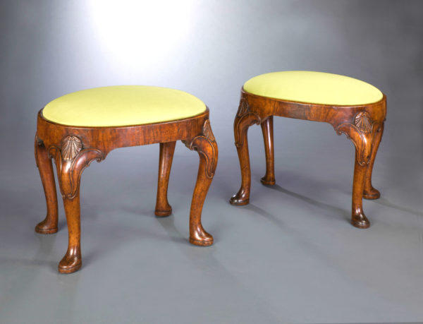 A Magnificent and Exceptionally Rare Pair of George II Walnut Stools