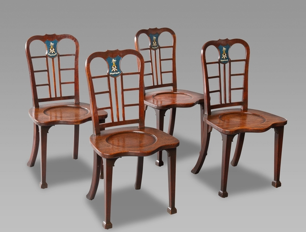 Exceptional Set of Four George II Mahogany Hall Chairs