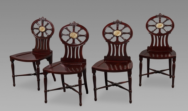 Gillows: Magnificent and Rare Set of Mahogany Hall Chairs c.1790