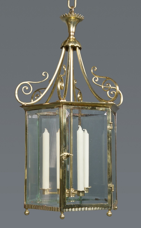 A Good Regency Brass and Glass Hexagonal Hall Lantern