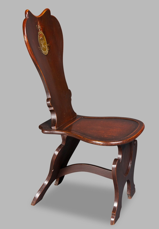 Very Fine George II Mahogany Spoon-Back Hall Chair for the Earls of Kintore
