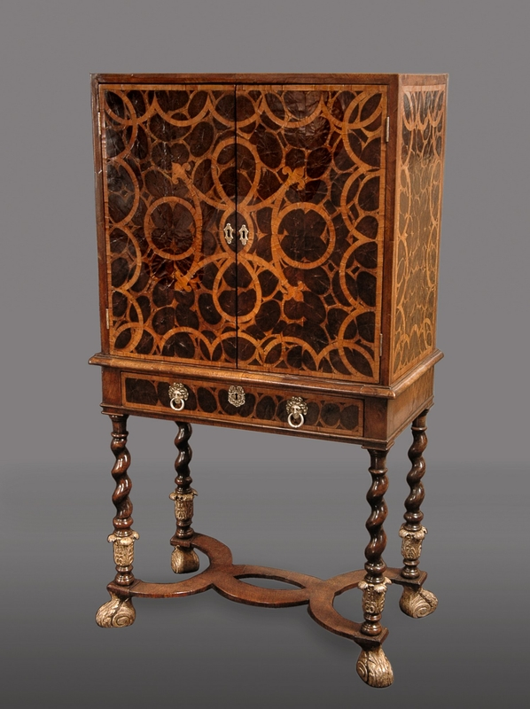 Charles II Lacewood Oyster Veneer, Walnut and Fruitwood Cabinet on Stand with Silvered Feet