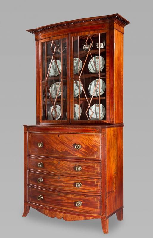 Fine George III Mahogany and Inlay Secretary Bookcase