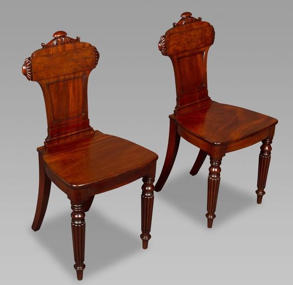 Good Pair Regency Mahogany Hall Chairs
