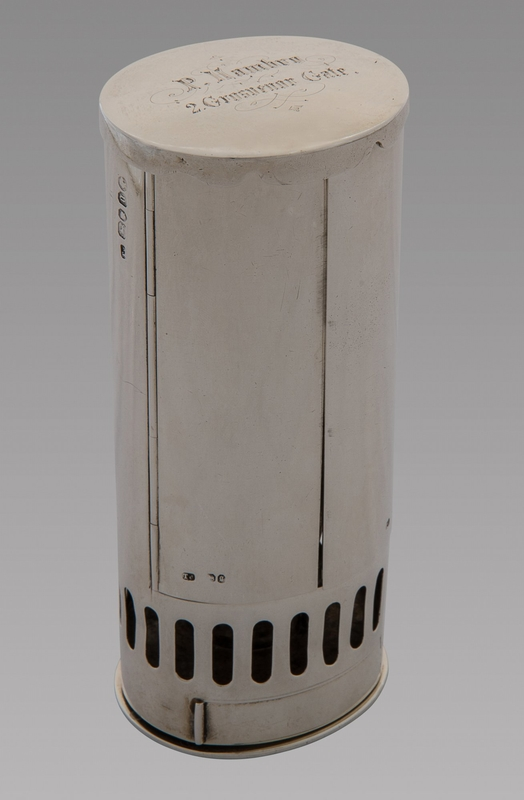 A Fine and Rare Silver Travel Lamp. London 1862