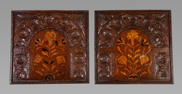 A Pair of 17th Century Oak and Marquetry Panels