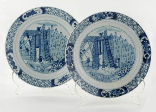 A Fine Pair of Chinese Export 'Riots of Rotterdam' Plates
