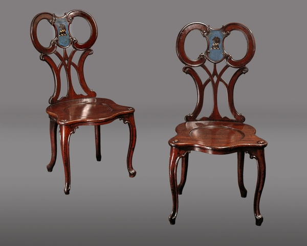 Pair Early George III Armorial Mahogany Hall Chairs