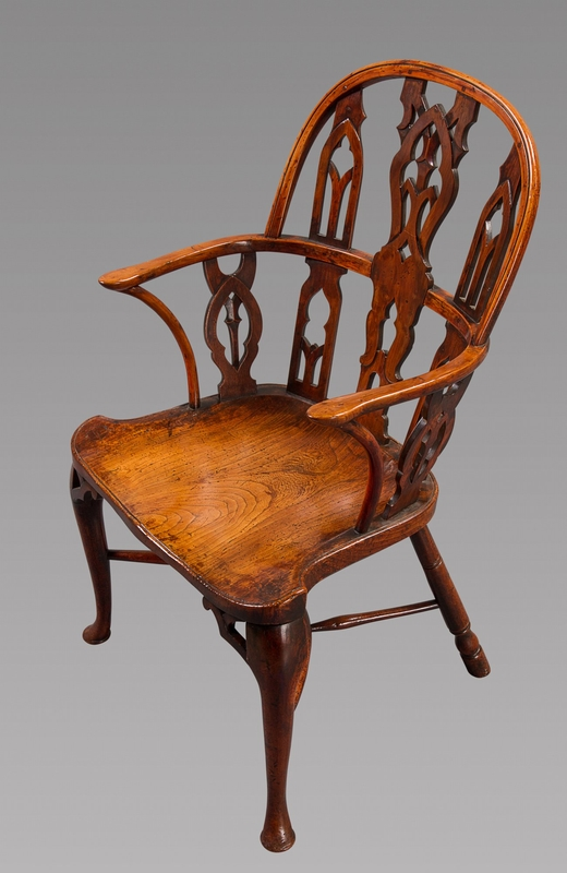 A Fine and Very Rare Mid 18th Century Gothic Windsor Armchair