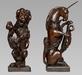 Exceptional Pair of Charles II Heraldic Newel Post Carvings