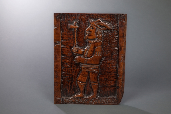 Extraordinary 17th Century Panel Of A European Carrying A Tomahawk