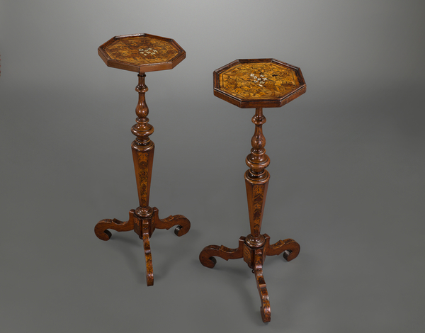 Fine and Rare Pair of William and Mary Walnut and Marquetry Inlaid Torchieres