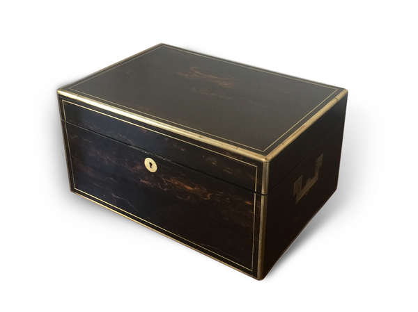 Asprey: An Early Victorian Silver Gilt Mounted Cut Glass Dresser Set in a Fitted Macassar Ebony Case