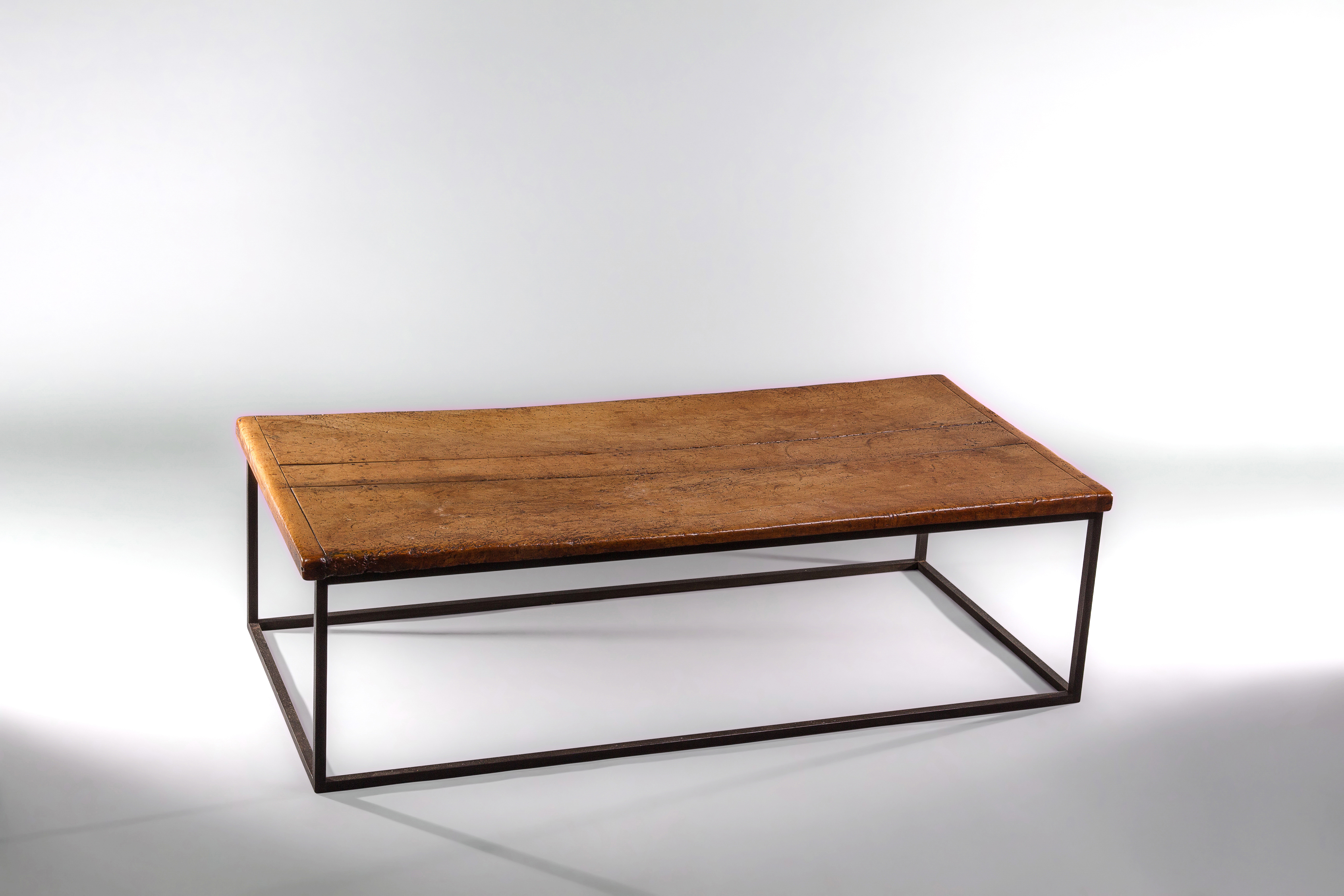 A Good Sycamore And Metal Coffee Table